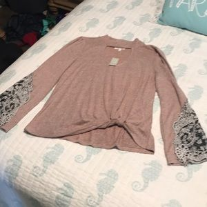 NWT Maurices Pink Lace Sleeve Knot Boho Top M